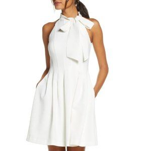 Vince Camuto Ivory Fit & Flare Tie Neck Dress